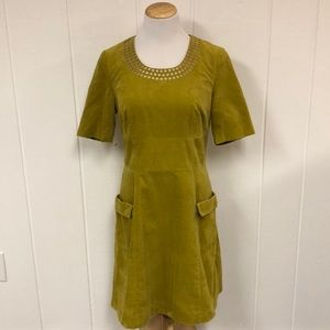 Boden citron yellow corduroy embroidered dress 8